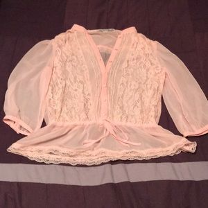 Forever 21 sheer pink lace blouse